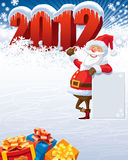 Santa Claus 2012. Santa Claus with blank poster and the new year 2012 stock illustration