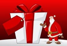 Santa Claus. With big present box Royalty Free Stock Image