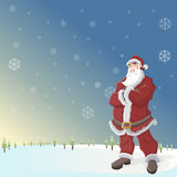 Santa Claus. In landscape with snow and blue sky Royalty Free Stock Photos