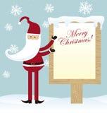 Santa claus. Cute santa claus with blank sign christmas over snow. vector Stock Photo