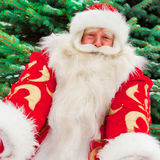 Santa Claus. Portrait of natural Santa Claus standing at Christmas Tree outdoors in winter and welcoming you with open hands stock photos