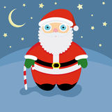 Santa Claus. Smiling Santa under the night sky Royalty Free Illustration