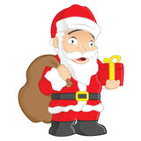 Santa Claus. Happy Santa Claus holding a gift in his hand and a sack of gifts - isolated over white background Stock Photography