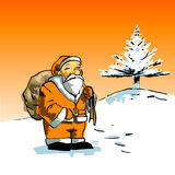 Santa Claus. Ready to go around with his gifts royalty free illustration