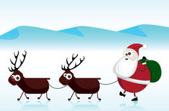 Santa Claus. Illustration of santa claus with the deers Stock Photos