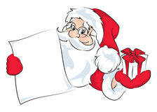 Santa Claus. An illustration of a Santa Claus gives a gift and holding a scroll. Isolated on white Stock Illustration