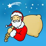 Santa Claus. An illustration of Santa Claus carrying a bag over his shoulder against a background of the sky with stars Stock Photos