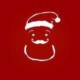 Santa Claus. Contour silhouette on red background Vector Illustration