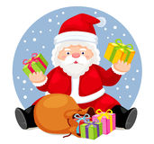 Santa Claus. With bag and gifts. Vector Royalty Free Stock Images