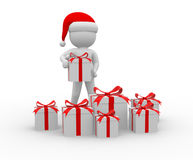 Santa Claus. 3d people - man, person with a gift boxes. Santa Claus Royalty Free Stock Photo