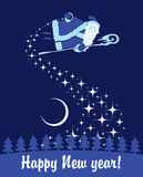 Santa Claus. In the night sky scatters stars royalty free illustration