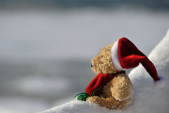 Santa Claus. Teddy as Santa Claus in the snow Stock Images