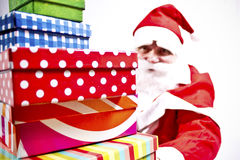 Santa Claus. Is holding gift boxes Royalty Free Stock Photos