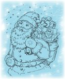 Santa Claus. Happy Santa Claus carries a bag with toys vector illustration