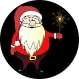 Santa Claus. With a sparkler on a black background Stock Photos