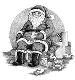Santa Claus. A traditional ink drawing of Santa Claus surrounded by gifts stock illustration