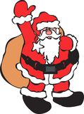 Santa Claus. Carrying gift bundle on white back ground Royalty Free Stock Images
