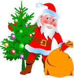 Santa Claus. With Christmas tree and bag Royalty Free Stock Images