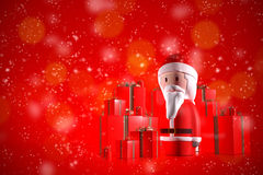 Santa Claus 3d on a red background. A 3d Santa Claus surrounded by christmas gifts on red background Royalty Free Illustration