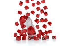 Santa Claus 3d under a rain of gifts. A 3d Santa Claus Santa Claus 3d under a rain of gifts on a white background Royalty Free Illustration