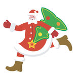 Santa_Claus. Running Santa Claus with a Christmas Tree Royalty Free Stock Image