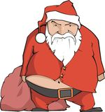 Santa Claus. Angry Santa Claus, with nude fat belly Stock Photos