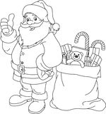 Santa Claus. Coloring page for Christmas and New Year. Santa Claus. Bag with gifts. Vector Royalty Free Stock Photography