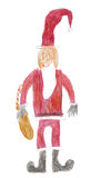 Santa Claus. Original eight years old kid's drawing of a Santa Claus carying a bag filled with gifts Stock Photography