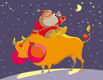 Santa Claus. Sit on the bull Royalty Free Stock Images