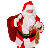 Santa Claus. Pointing finger on pure white background Stock Photo