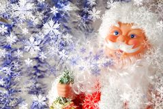Santa claus. Face of santa claus close up with snow like a card stock image
