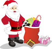 Santa Claus. Vector illustration of Santa Claus and the gifts Stock Photos