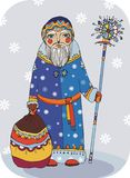 Santa Claus. Grandfather Frost with gifts in bag Stock Images
