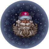 Santa Claus. In a red fur-cap and with curly beard on a background of snowflakes and stars Royalty Free Stock Photography