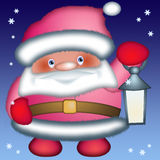 Santa Claus. With torch in hand, drawing Vector Illustration