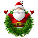 Santa Claus aan taille met zijn omhoog handen Stock Foto