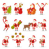 Santa Claus Activities Set. New Year and Christmas. Santa Claus activities set. Santa with New Year tree, bag with presents, rest in armchair, ring in bells Stock Image