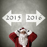Santa claus with addresses. Turn of the year Royalty Free Stock Photography