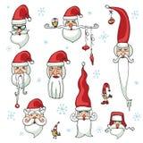 Santa Claus affronta l'insieme Autoadesivi, icone Immagine Stock Libera da Diritti