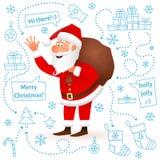 Santa Claus aisló en fondo de la Navidad blanca Saco que lleva con los regalos, mano que agita del carácter divertido plano del v Foto de archivo libre de regalías