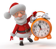 Santa Claus with an alarm clock Stock Photo