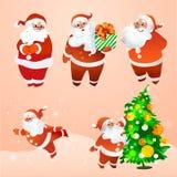 Santa Claus alegre nos vidros Imagens de Stock