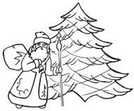 Santa Claus all'albero di Natale Immagine Stock