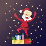 Santa Claus allegra con i presente Invito ad un partito Coriandoli variopinti Per divertimento Fotografia Stock Libera da Diritti
