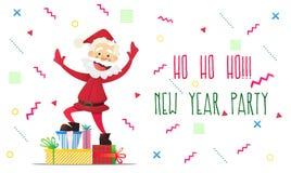Santa Claus allegra con i presente Invito ad un partito Coriandoli variopinti Per divertimento Immagini Stock