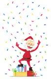Santa Claus allegra con i presente Invito ad un partito Coriandoli variopinti Per divertimento Immagine Stock Libera da Diritti