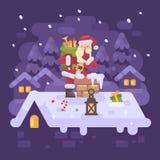 Santa Claus allegra su un tetto che scala nel camino Immagini Stock