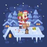 Santa Claus allegra su un tetto che scala nel camino Fotografia Stock Libera da Diritti