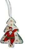 Santa Claus allegra sull'albero di Natale Fotografie Stock Libere da Diritti