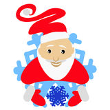 Santa Claus in an amusing cap in the form of a snowflake  icon. with the snow in hands. on  white background. for the press, under. Santa Claus in an amusing cap Stock Photography